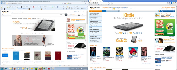 Amazon Web sites screenshot