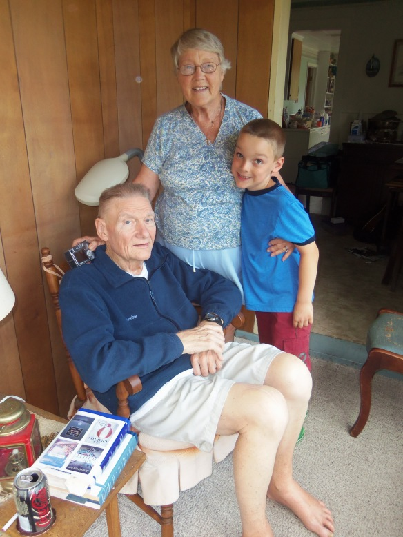 A photo of Carl, Margaret, and Sam Diener over July 4th weekend 2012