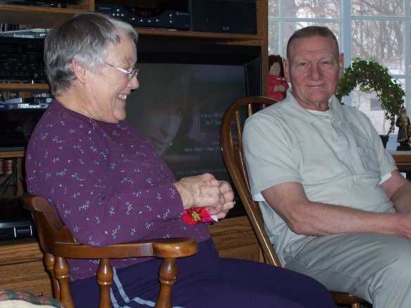 A photo of Margaret and Carl Diener on Christmas morning in Flint, Michigan.