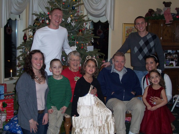 A photo of Carl and Margaret Diener with all their grandchildren: Jessica Diener, Tyler Diener, Isaac Diener, Samuel Diener, Sarah Titus, Rowan Diener, and Ava Diener