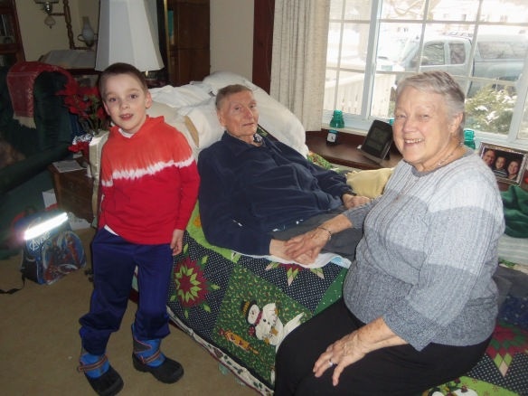 A photo of Sam with Grandpa and Grandma Diener two weeks before Dad's death.