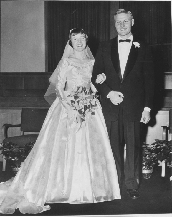 A photo of Margaret Mark and Carl Deiner at their wedding.